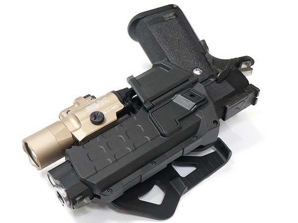 ライト&レーザー搭載ガバメント1911対応!! CQC ムーバブルホルスター GM1911対応 【右用】 ブラック