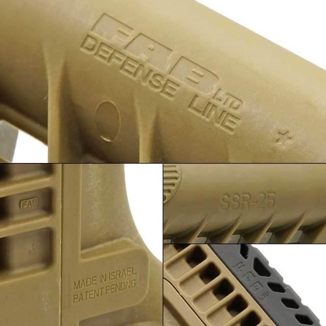 【 FABタイプ 】 SSR-25 スナイパー ライフルストック 一脚 チークレスト 標準搭載 DEカラー