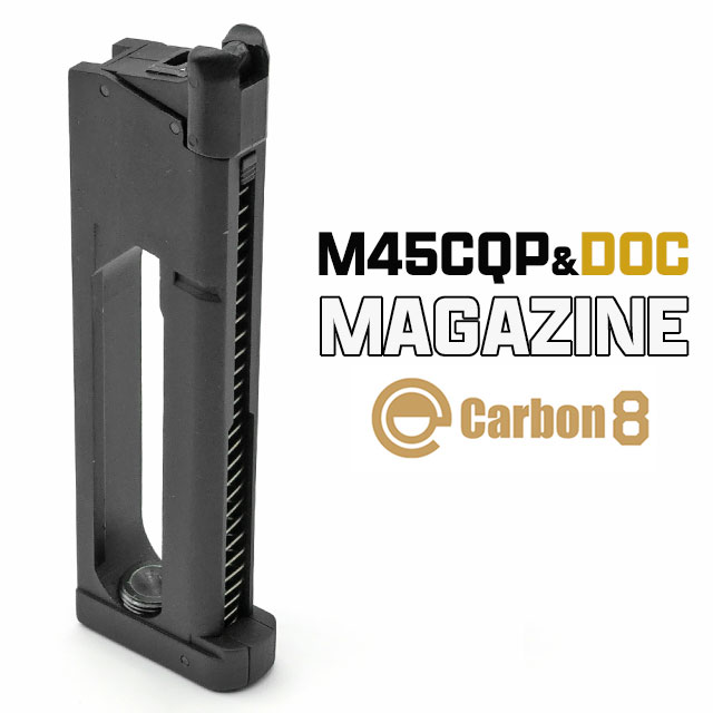 【CARBON8製】(カーボネイト) ガスハンドガンマガジン M45CQP / M45DOC Co2ブローバック専用 26連スペアマガジン