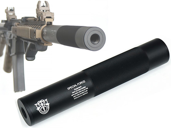 【FMA製】 198mm アルミサイレンサー SPECIAL FORCE刻印 BK (14mm正/逆ネジ対応)TB882